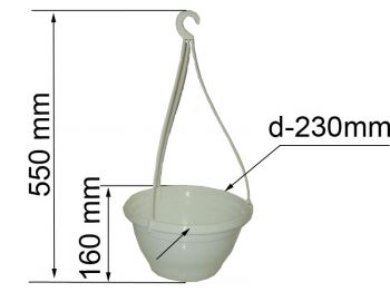 Горшок д/цветов Петуния№1 D=230мм 3,5 л с  подвескою