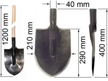 Лопата  ЛКО (копальная остроконечная) с черенком